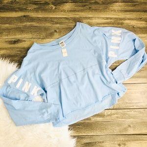 VS PINK | Light Blue Long Sleeve Crop Top (VS75)